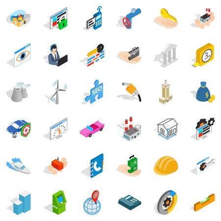 Unrest icons set, isometric style Illustration
