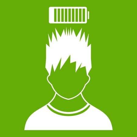 Man with low battery over head icon green Illustration