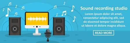 Sound recording studio banner horizontal concept. Flat illustration of sound recording studio banner horizontal vector concept for web design