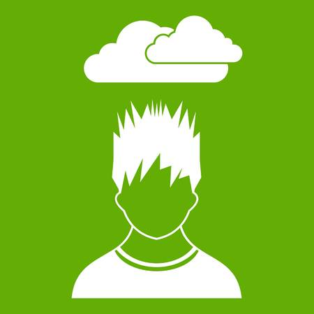 Depressed man with dark cloud over his head icon green Illustration