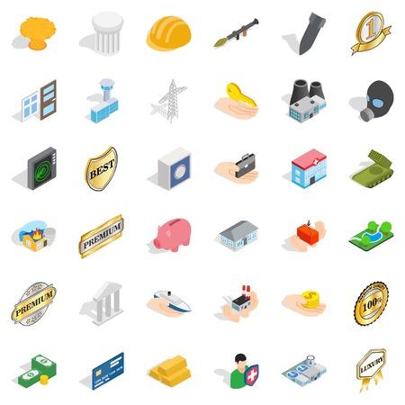 Place icons set, isometric style Illustration