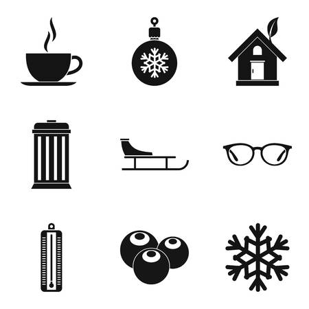 Cozy house icons set, simple style
