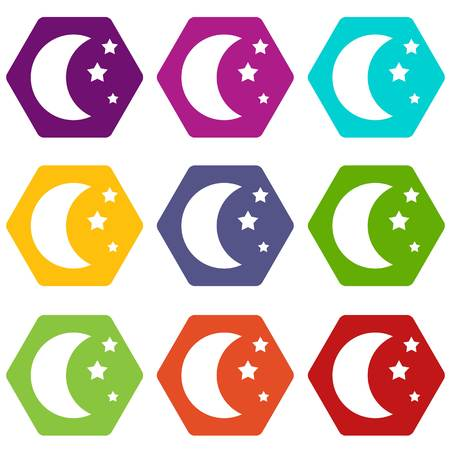 Moon and stars icon set color hexahedron Illustration