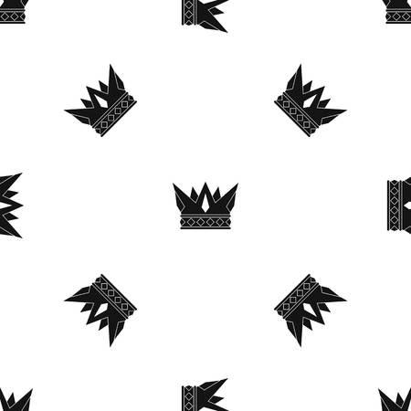 royal person: Cog crown pattern seamless black