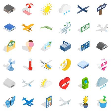 Fly icons set, isometric style Illustration