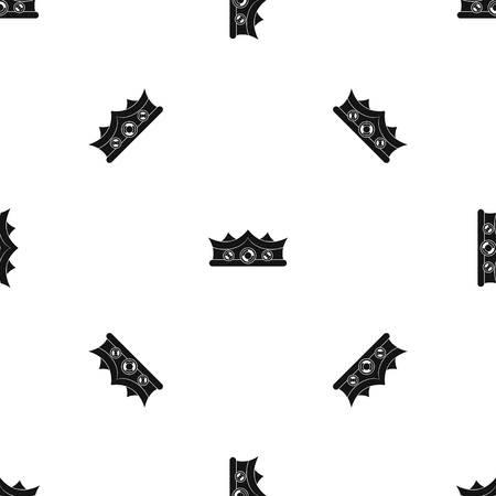 royal person: King crown pattern seamless black