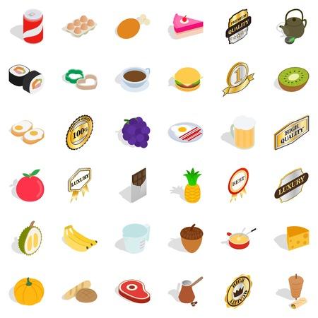 Fruit icons set, isometric style Illustration
