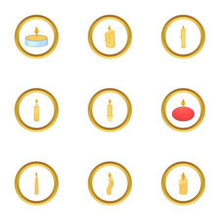 Candle shape icons set. Cartoon style set of 9 candle shape vector icons for web design