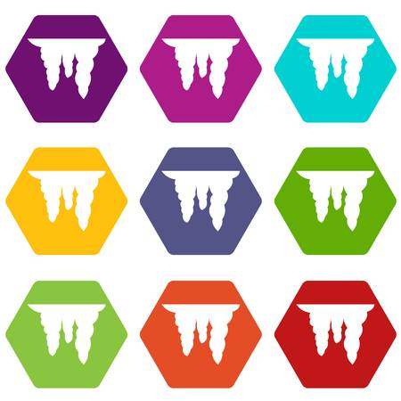 Icicles icon set many color hexahedron isolated on white vector illustration