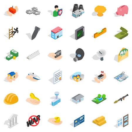 Joint stock company icons set. Isometric style of 36 joint stock company vector icons for web isolated on white background