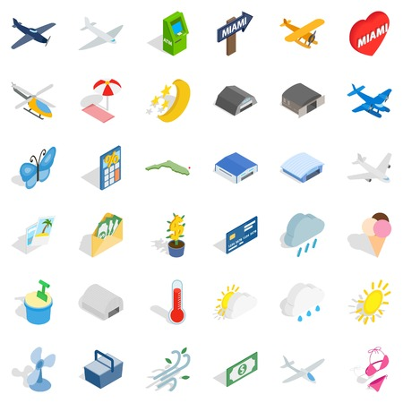 Travel icons set. Isometric style of 36 travel vector icons for web isolated on white background