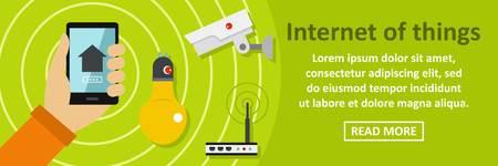 Internet of things banner horizontal concept. Flat illustration of internet of things banner horizontal vector concept for web design