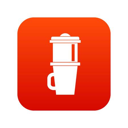 Mug for coffee icon digital red for any design isolated on white vector illustration