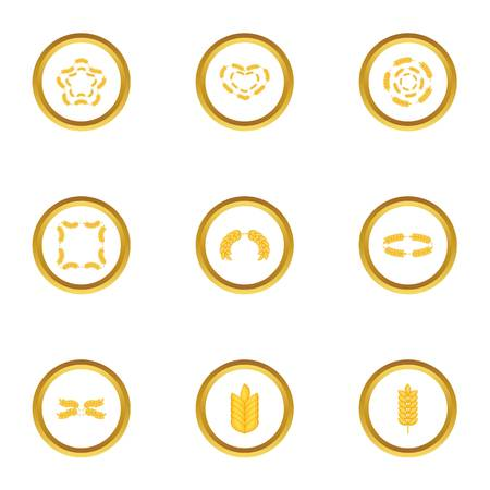 grain fields: Ears form icons set. Cartoon style set of 9 ears form vector icons for web design Illustration