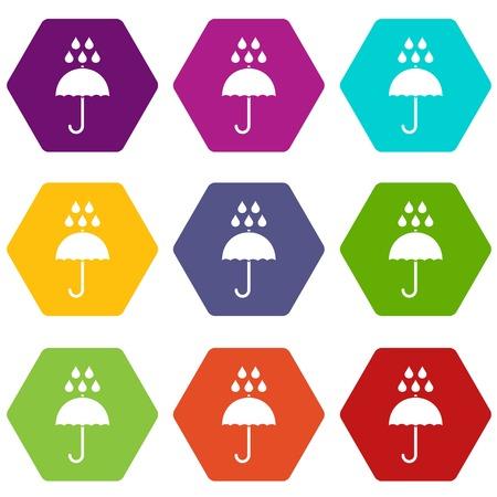 De paraplu en de regen laten vallen het pictogram plaatst vele die kleurenhexahedron op witte vectorillustratie wordt geïsoleerd Stock Illustratie