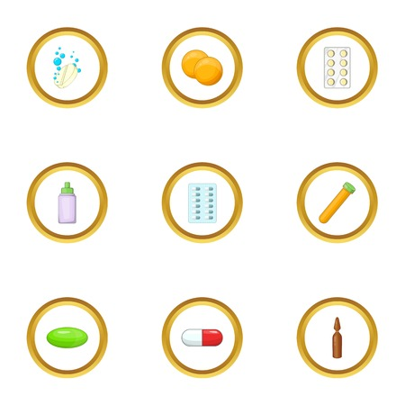 prescription bottles: Medication icons set. Cartoon style set of 9 medication vector icons for web design
