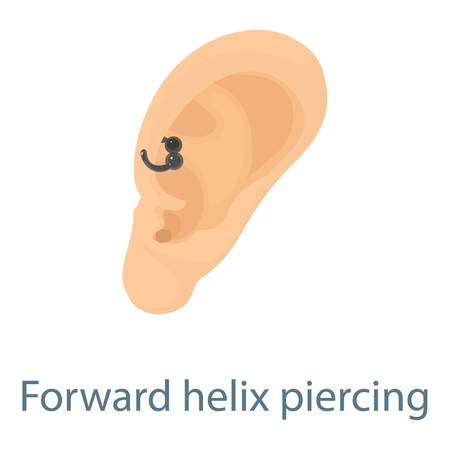 audible: Ear piercing icon. Isometric illustration of ear piercing icon for web
