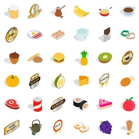 Luxury icons set. Isometric style of 36 luxury vector icons for web isolated on white background Illustration