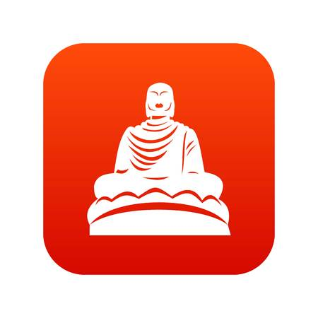 Buddha statue icon digital red for any design isolated on white vector illustration Illustration