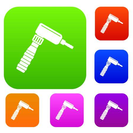 Hand draw rotary tattoo machine set icon color in flat style isolated on white. Collection sings vector illustration
