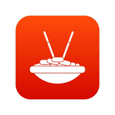 Bowl of rice with chopsticks icon digital red for any design isolated on white vector illustration Illustration