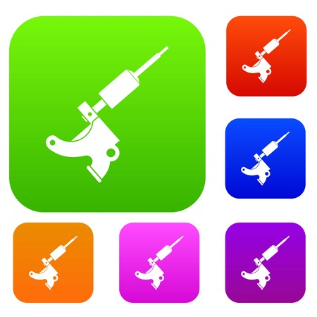 Coil tattoo machine set icon color in flat style isolated on white. Collection sings vector illustration Illustration