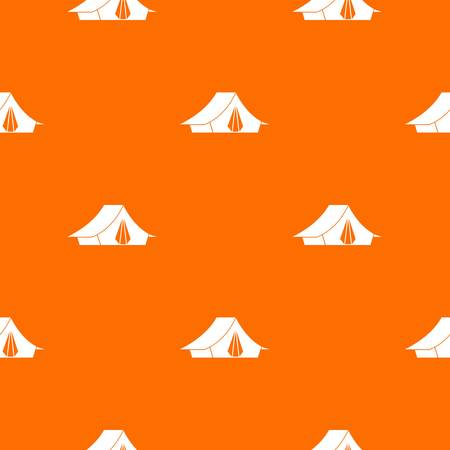 campsite: Camping tent pattern repeat seamless in orange color for any design. Vector geometric illustration Illustration