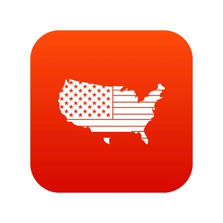 アメリカ地図アイコン デジタル赤白いベクトル イラストを分離した設計