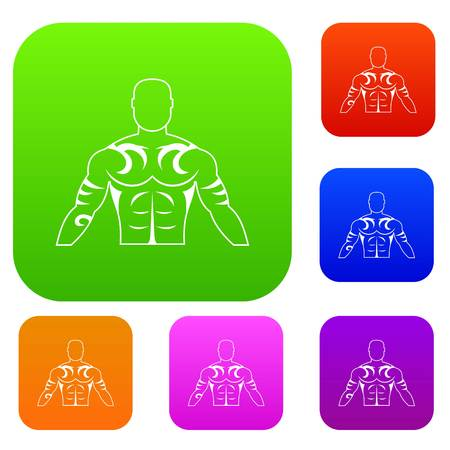 Muscular man with tattoo set icon color in flat style isolated on white. Collection sings vector illustration