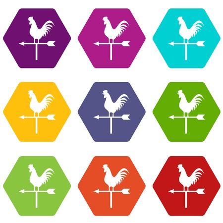 windward: Weather vane with cock icon set many color hexahedron isolated on white vector illustration