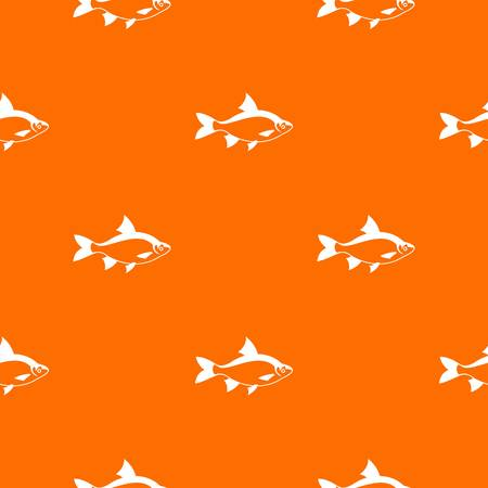 River fish pattern repeat seamless in orange color for any design. Vector geometric illustration
