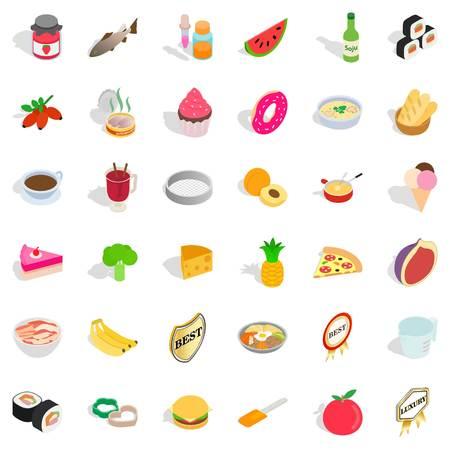 Bakehouse icons set. Isometric style of 36 bakehouse vector icons for web isolated on white background Illustration