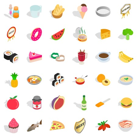 Food icons set. Isometric style of 36 food vector icons for web isolated on white background Illustration