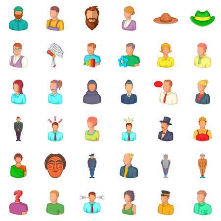 Avatar icons set. Cartoon style of 36 avatar vector icons for web isolated on white background Illustration