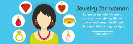 diamond earrings: Jewelry for woman banner horizontal concept. Flat illustration of jewelry for woman banner horizontal vector concept for web design