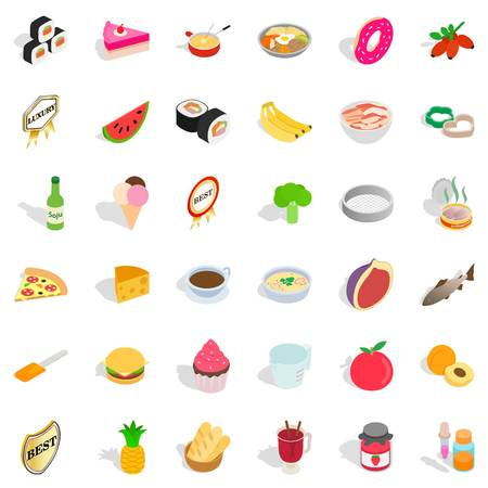 Cooking icons set. Isometric style of 36 cooking vector icons for web isolated on white background