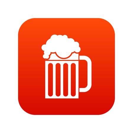 intoxication: Beer mug icon digital red for any design isolated on white vector illustration