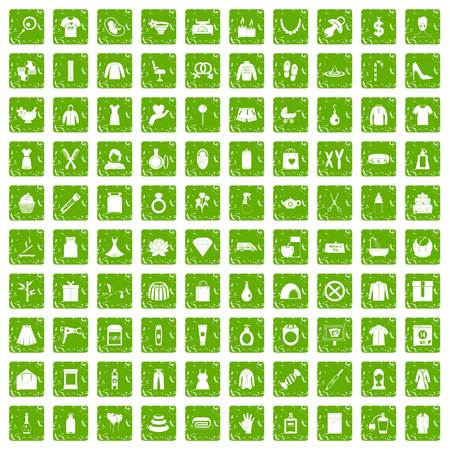 100 woman icons set in grunge style green color isolated on white background vector illustration