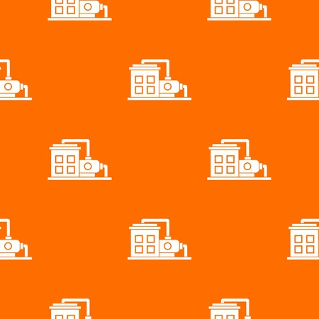 Factory building pattern repeat seamless in orange color for any design. Vector geometric illustration