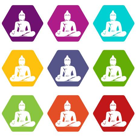 buddha lotus: Statue of Buddha sitting in lotus pose icon set color hexahedron