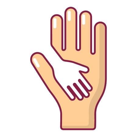 family isolated: Caring hand icon, cartoon style