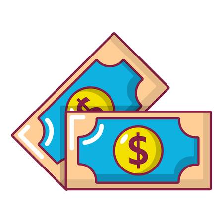 Bank note icon, cartoon style Illustration