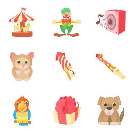 Jamboree icons set, cartoon style