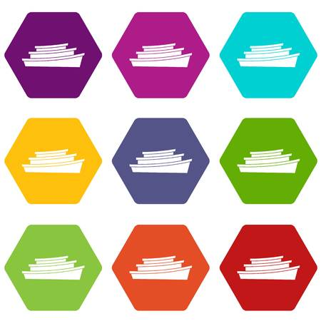 backwater: Wooden boat icon set color hexahedron
