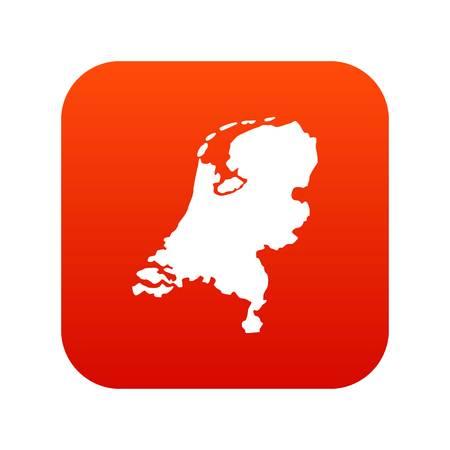 Holland map icon digital red Illustration