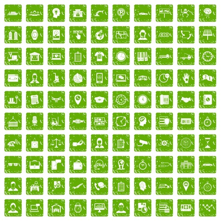 100 working hours icons set grunge green