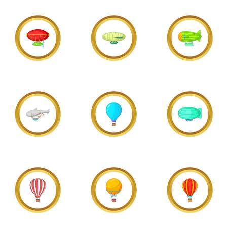Airships icons set. Cartoon style set of 9 airship vector icons for web design