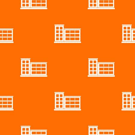 Industrial factory building pattern repeat seamless in orange color for any design. Vector geometric illustration Illustration