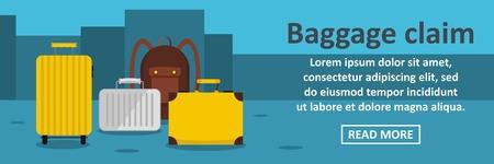 Baggage claim banner horizontal concept. Flat illustration of baggage claim banner horizontal vector concept for web design
