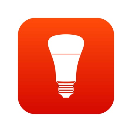 Led bulb icon digital red for any design isolated on white vector illustration